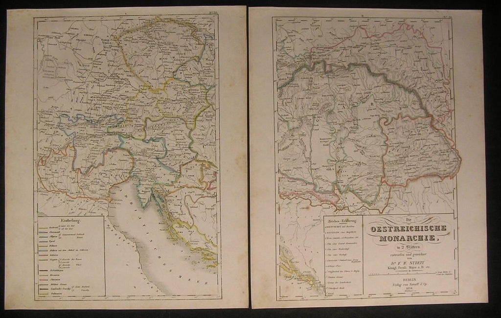 Austrian Empire Venice Lombardy 1834 antique engraved hand color outline map
