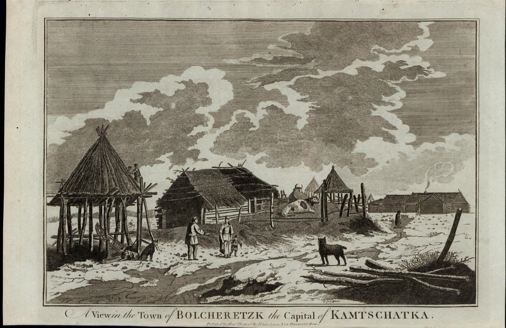 Kamtschatka Town Thatched Roof Cattle ca. 1780's fascinating old engraved print