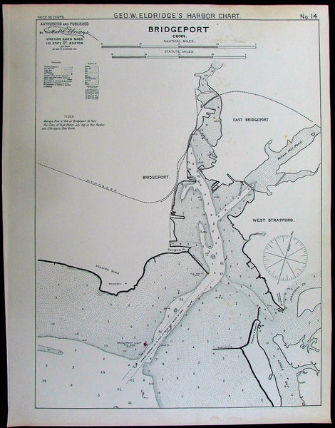 Bridgeport Connecticut Long Island Sound 1901 old antique nautical chart map