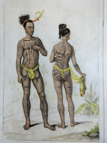 Caroline Island Couple Pacific Islanders Tattoos 1837 scarce French ethnic view