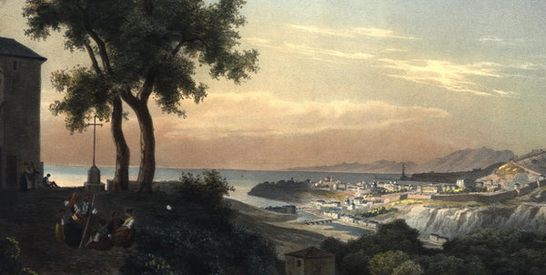 Genoa Italy c.1830's stunning old print lovely hand color Italia