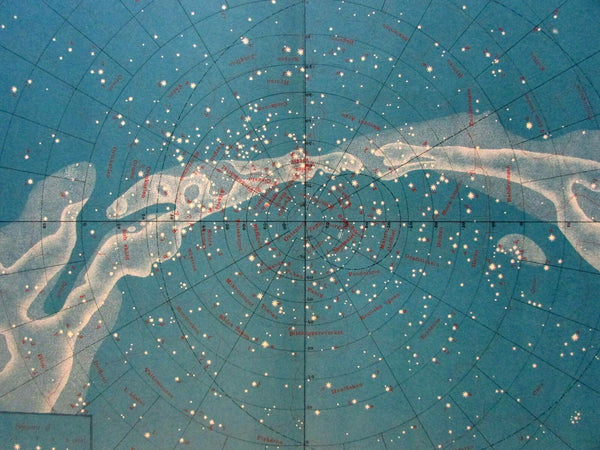 Southern Starry night sky constellations 1888 Celestial print beautiful scarce