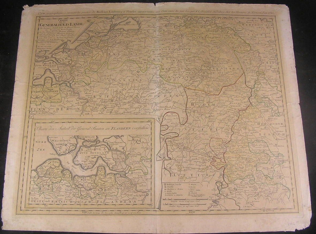 Holland Germany Flanders Zeeland 1788 folio Grussefeld scarce antique folio map