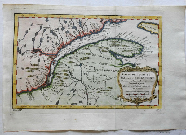 St. Lawrence Seaway Canada Quebec New Brunswick Maine 1757 Bellin map