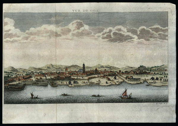 Goa India 1750 Bellin prospect urban view birds-eye print