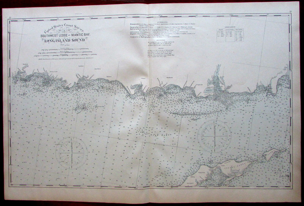 Long Island Sound Southwest Ledge to Niantic Bay Stony Creek 1893 CT coast map