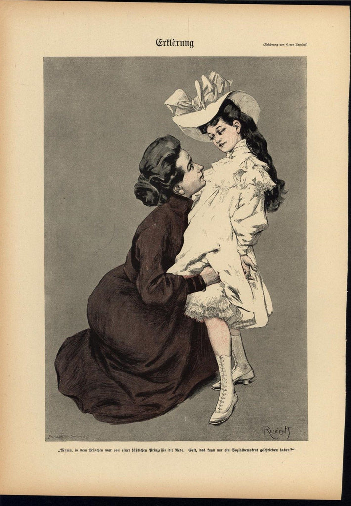 Adorable Child Pure White Dress 1902 antique Art Nouveau color lithograph print
