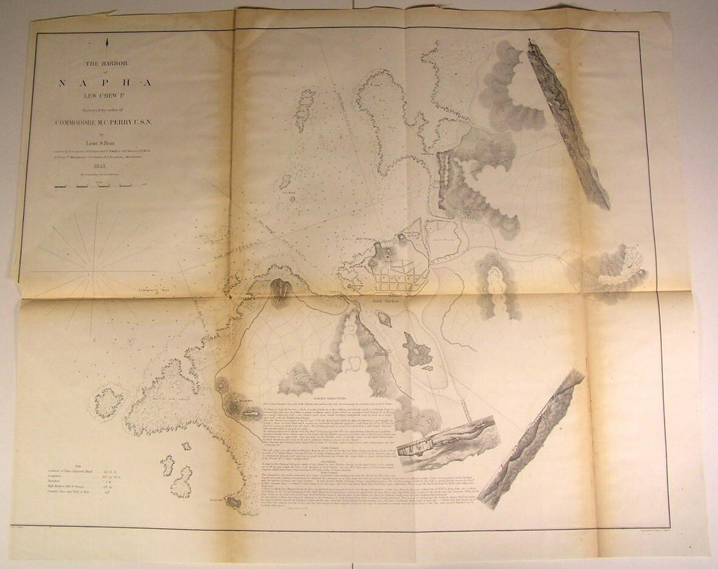 Napha Harbor Commodore Perry Abbey Point  1853 U.S. Japan expedition survey map