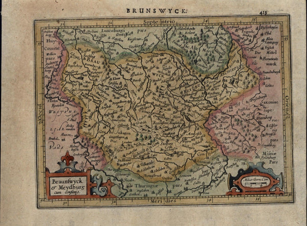 Braunswyck Brunswick Germany beautiful antique c.1628 Mercator minor old map