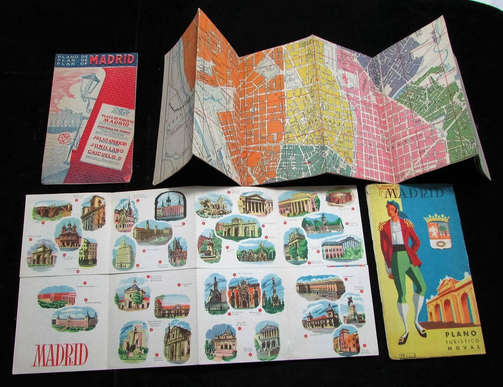 Madrid Spain city map plan c.1930-50's lot of 3 large folding ads views cartoon