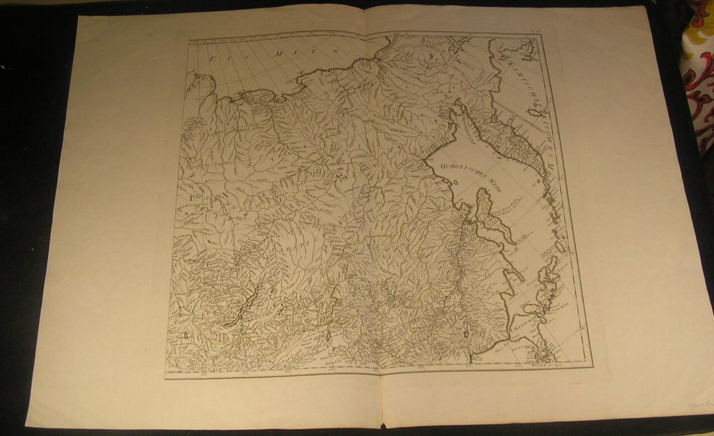 Russia in Asia Siberia Kamchatka North Japan 1820 antique mystery German map