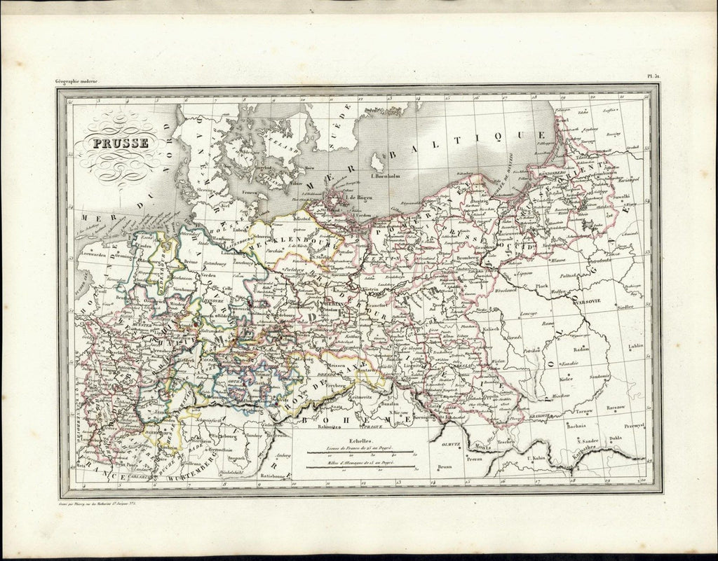 Prussia Westphalia Brandenburg Baltic Sea nice 1846 uncommon antique color map