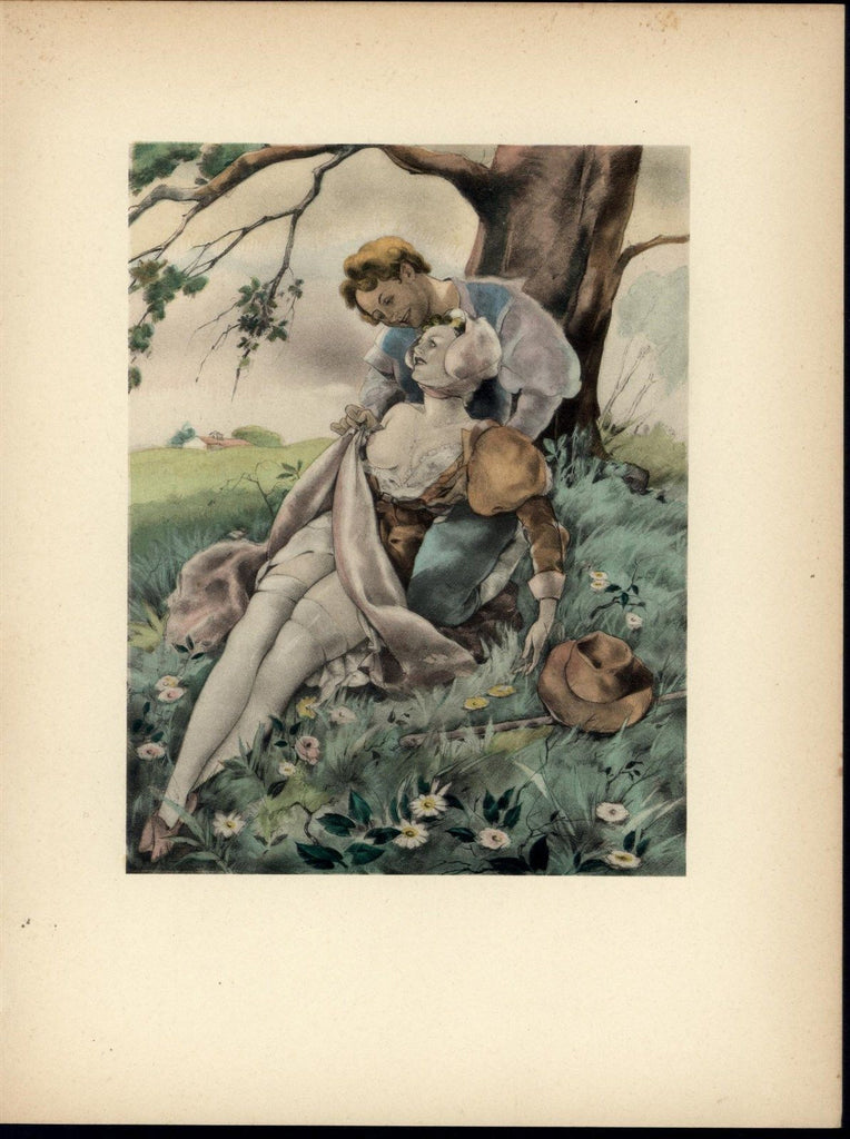 Smiling Lovers Under a Tree Nudity Beauty nice 1937 Art Deco Erotica print