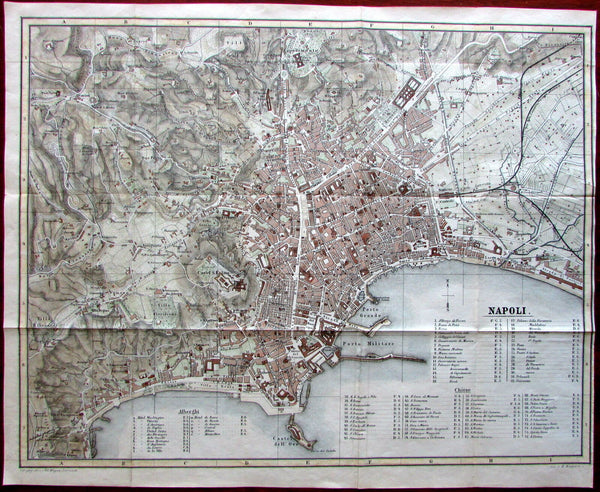 Naples Italy Napoli Italia 1872 very detailed fine large city plan hand color