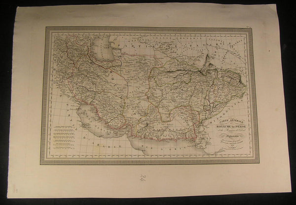 Kingdom of Persia Sea of Oman Azerbaijan 1825 antique large nice hand color map