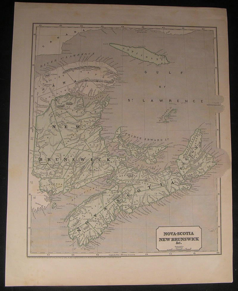 Nova Scotia News Brunswick Canada scarce 1843 old vintage Morse & Breese map