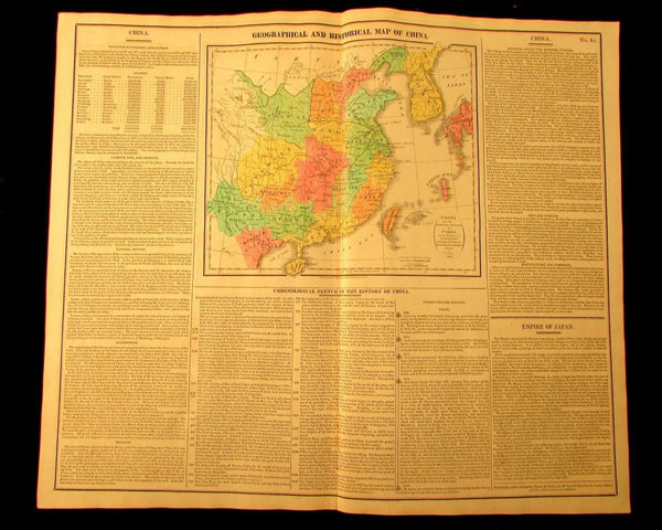 China Corea Yellow Sea 1820 M. Carey large antique map old hand color