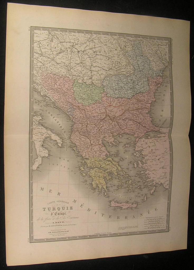 Turkey in Europe Ottoman Empire Balkans 1875 fine old vintage hand color map