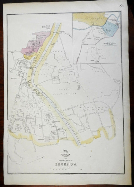 Lucknow India British Raj detailed plan 1856-72 Weller map w/ mud huts shown