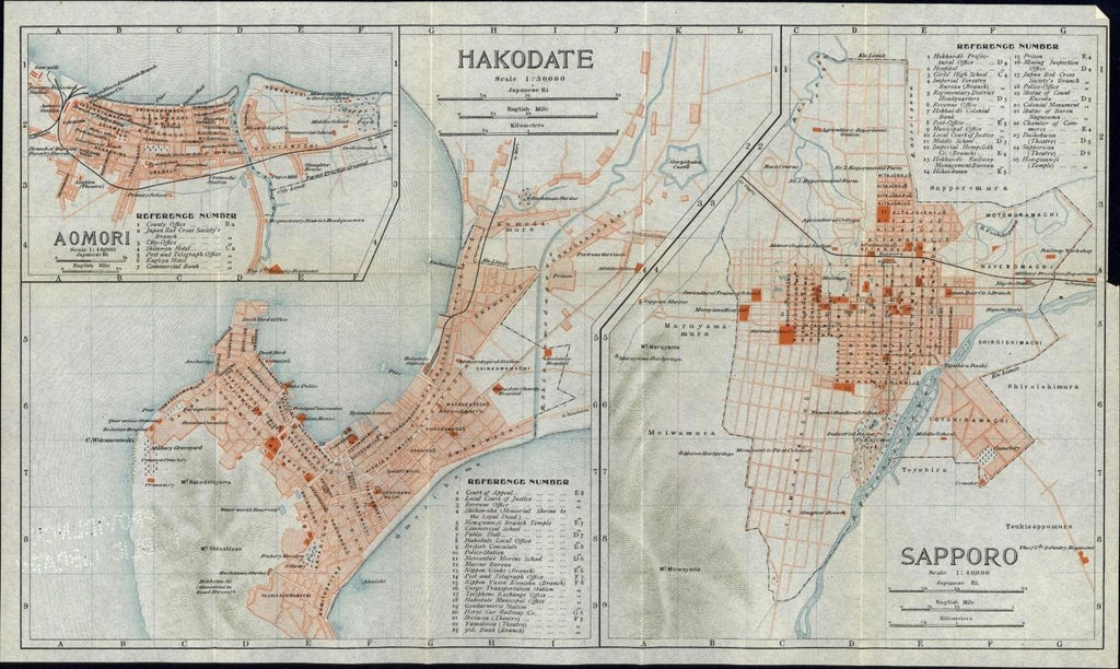 Hakodate Sapporo Aomori Japan city plans 1914 detailed maps many features shown