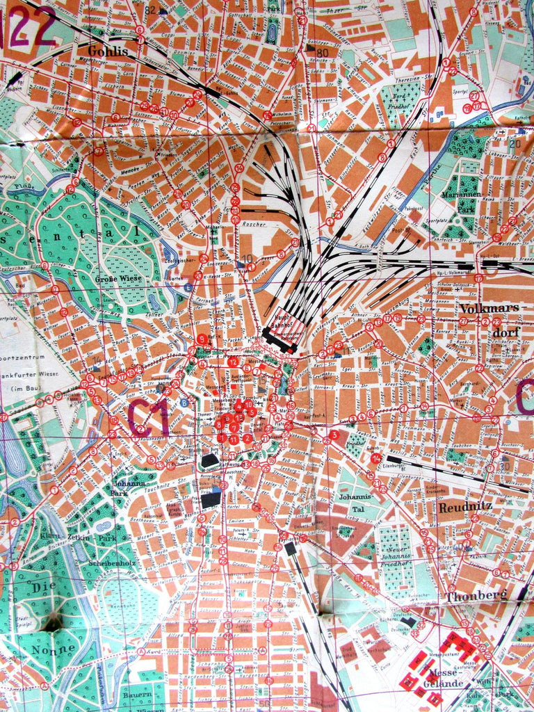 Leipzig Germany c.1951 large Vintage Europe City Plan