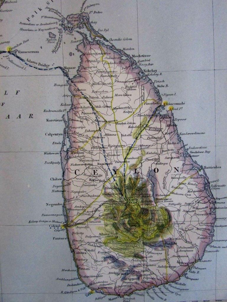 Madras Ceylon Sri Lanka Southern India 1883 Lett's SDUK detailed map