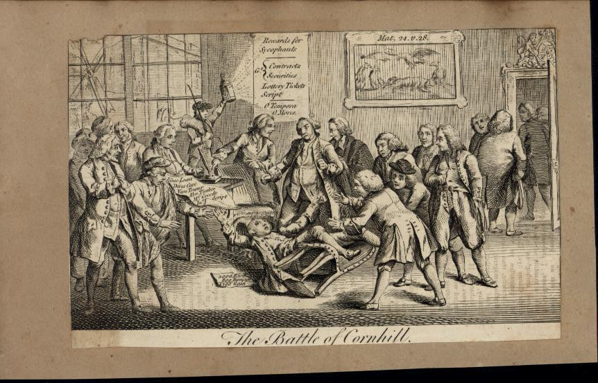 Battle of Cornhill Gentlemanly Brawl c.1780 antique engraved print