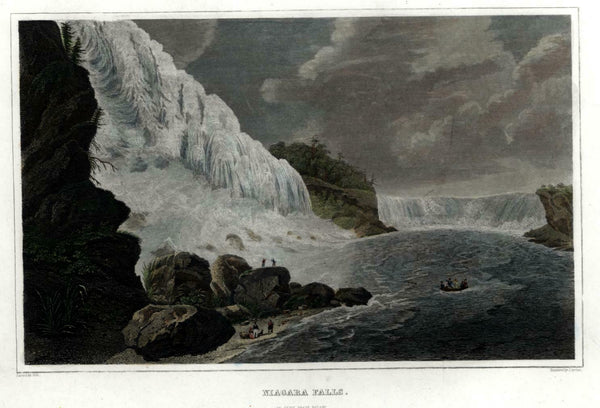 Niagara Falls Tourist Boat 1846 Archer engraved view beautiful hand color