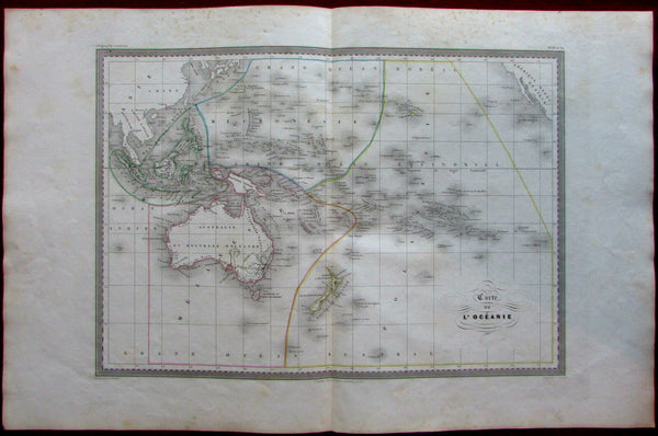 Australia shows hooked Lake Torens New Zealand Oceania c.1845 Bellier map