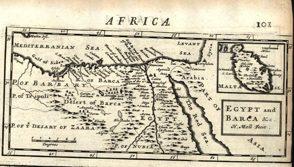 Africa interior Nile source South Africa vagabonds Turkish 1709 Moll old map