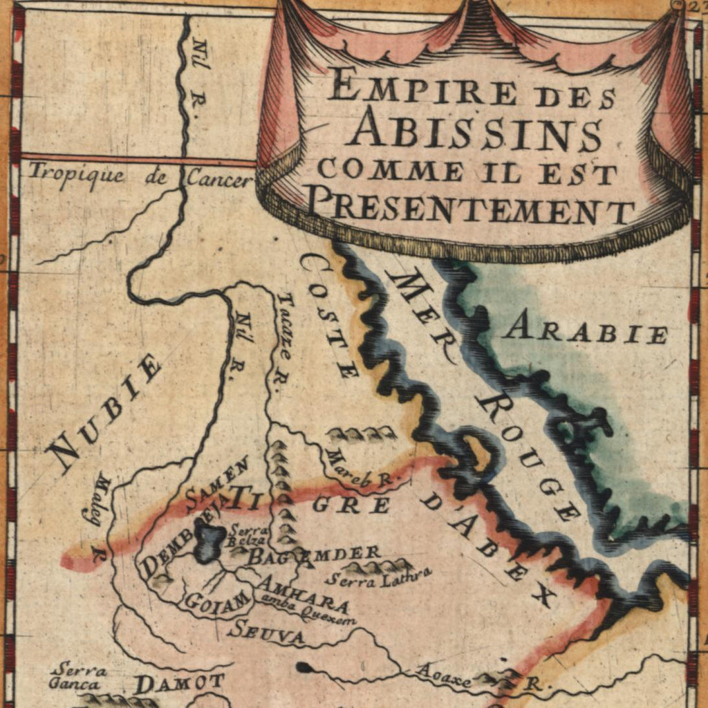 East Africa Coast of Adel Red Sea Nubia Arabia 1683 old Mallet map hand color