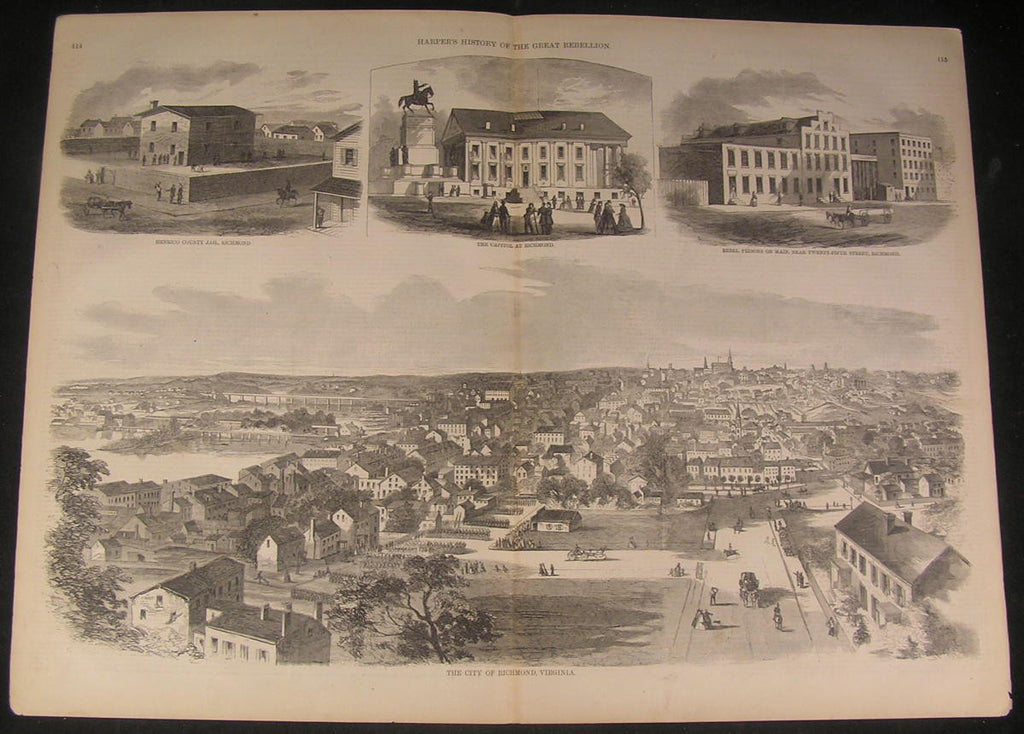 Richmond Virginia Cityscape Capitol County Jail 1866 antique wood engraved print