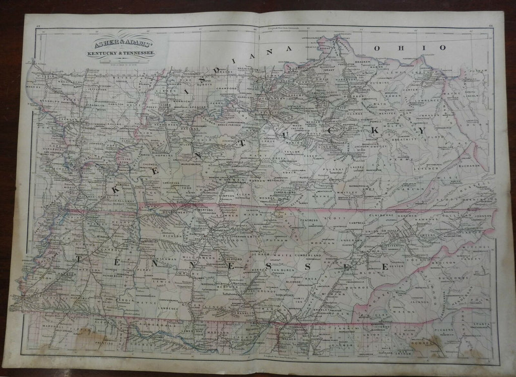 Kentucky & Tennessee Appalachia Lexington Nashville 1872 Asher & Adams map