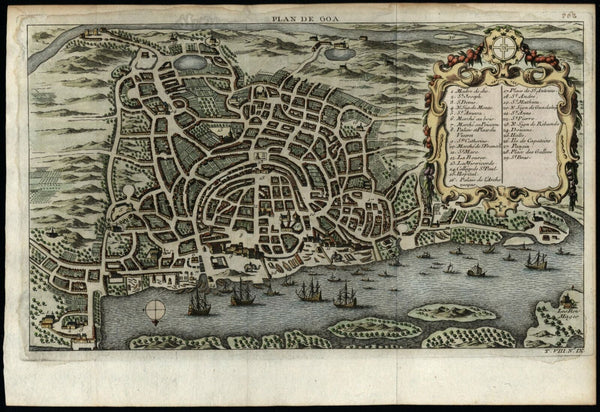 Goa India splendid birds-eye city plan 1750 Bellin city plan decorative colored