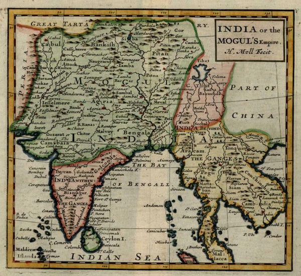 Mughal India Southeast Asia Ceylon Siam 1713 Moll miniature map hand color