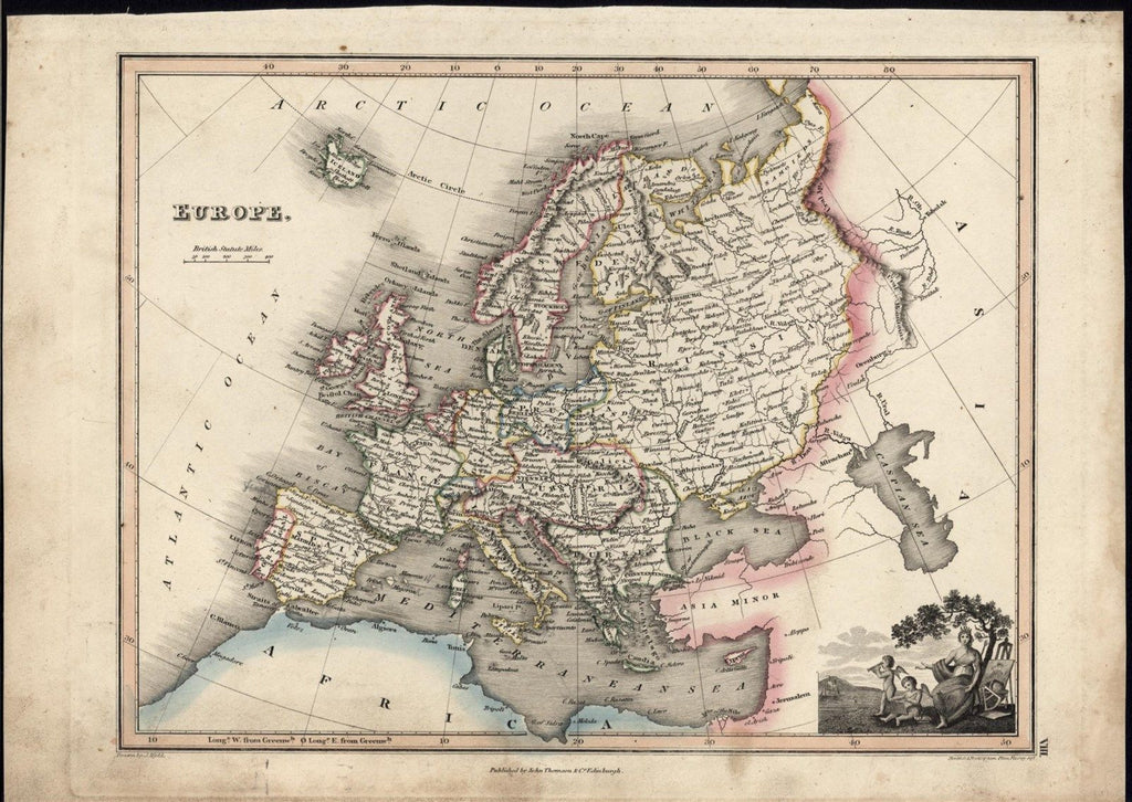 Europe 1822 w/ cherubs & seated Goddess fine old vintage antique map