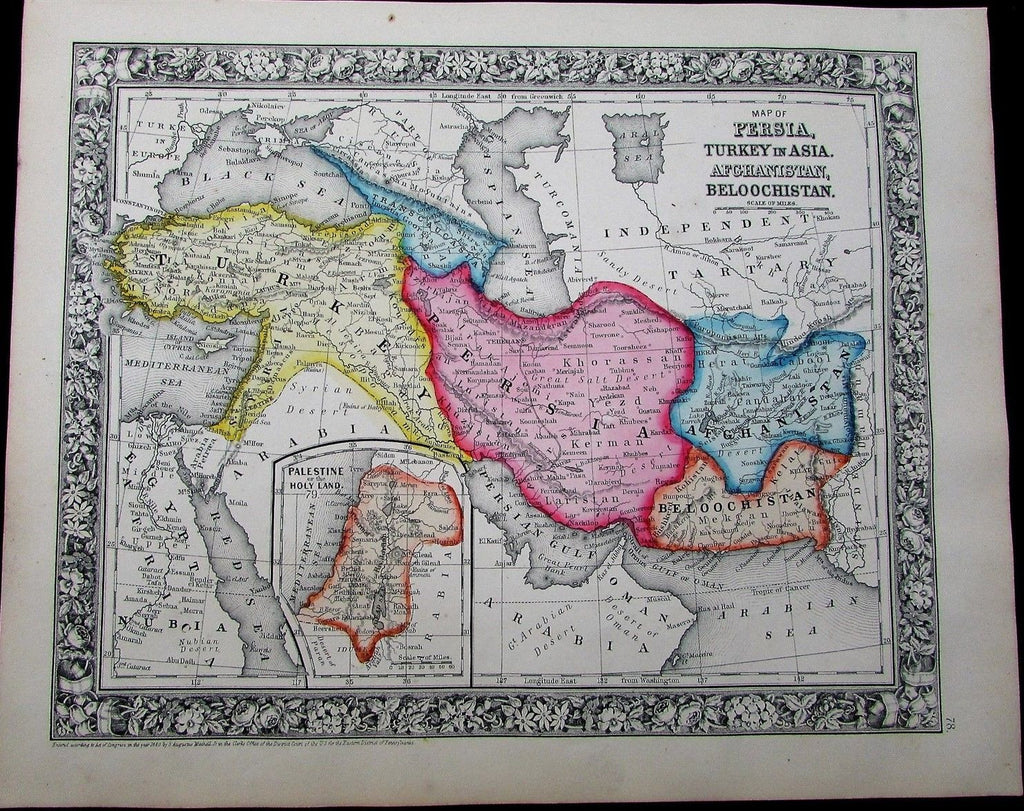 Iran Persia Turkey Afghanistan 1863 Mitchell antique map hand color