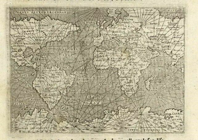 World navigator map Porcacchi 1620 giant mythical Southern Continent shown