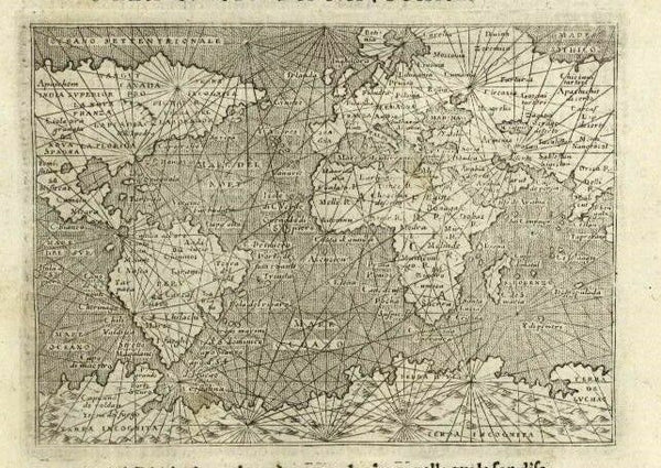 World navigator map Porcacchi 1620 gian mythical Southern Continent shown
