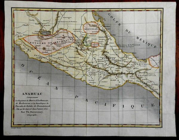 Mexico Aztec Empire at Time of Spanish Conquest 1843 Duvotenay historical map