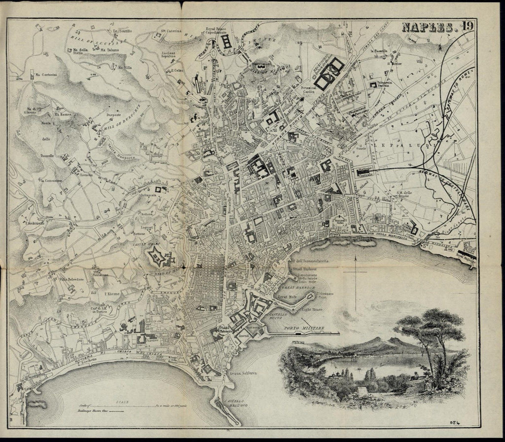 Naples Italy Scenic View nice c. 1880 detailed scarce folding city plan old map