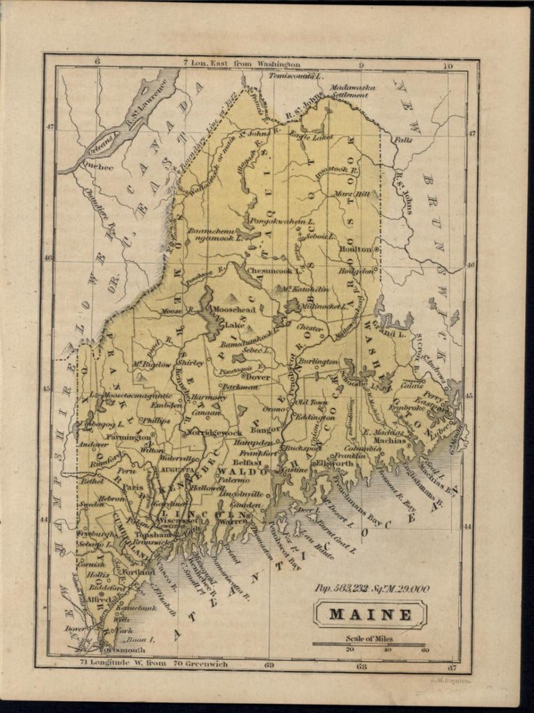 Maine New England 1853 Boyton old vintage antique engraved hand color map
