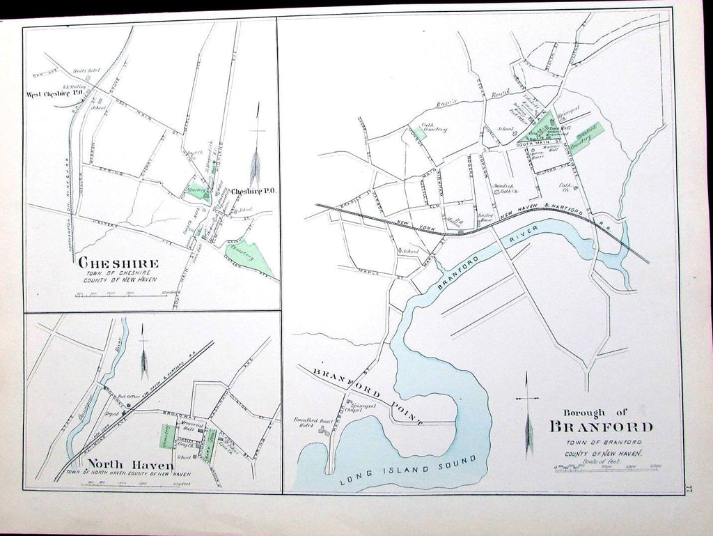 Branford Cheshire North & New Haven Connecticut 1893 LI Sound antique map detail
