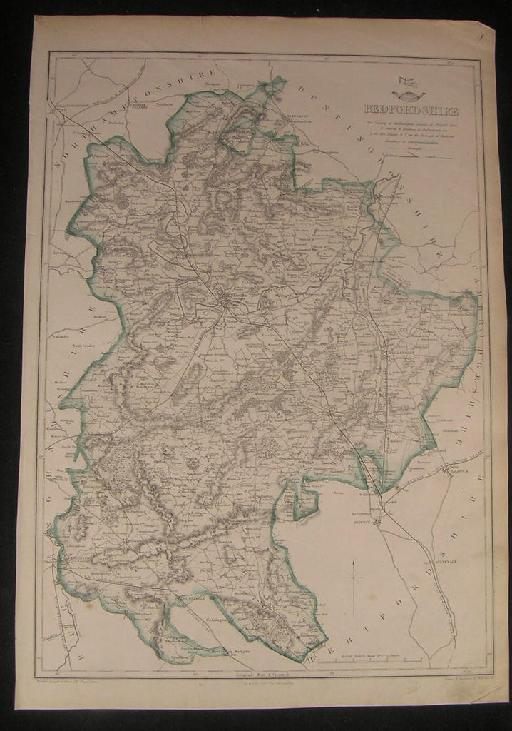 Bedfordshire county England c.1863 old vintage detailed Davies folio map