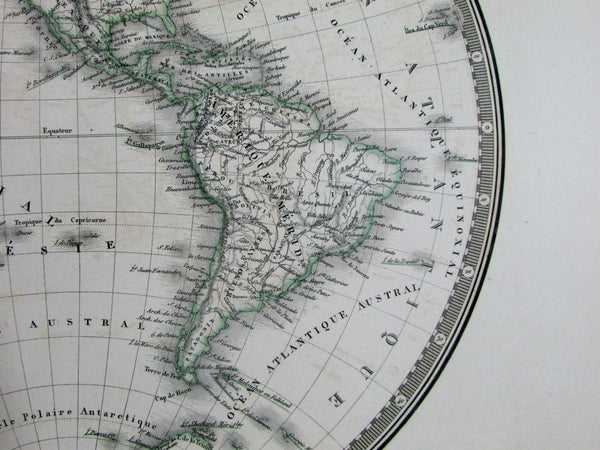 World double hemispheres 1836 Brue large folio old map Mts. of Moon Timpanogos