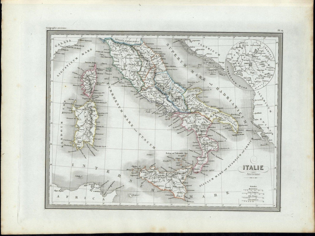 Ancient Italy Sicily Sardinia Corsica 1846 uncommon antique color map