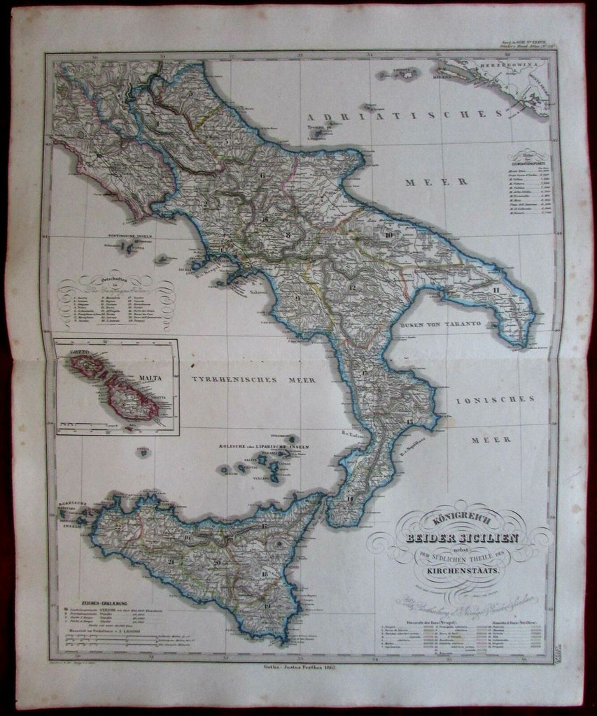 Southern Italy Papal States Sicily Malta Gozzo insets 1862 Stieler map