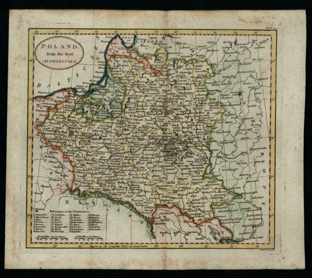 Poland Prussia Lithuania 1796 shows Palatinates charming map lovely hand color