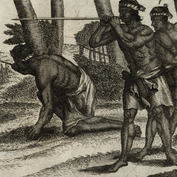 Borneo Indonesia Southeast Asia natives with blowguns c.1726 scarce old print