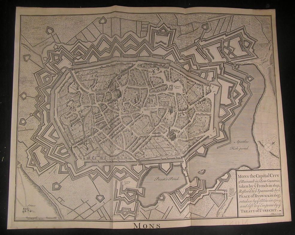 Fortified City Mons Belgium Exquisite c.1740 fine antique copper engraved map